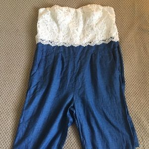 Strapless Lace and denim long jumpsuit